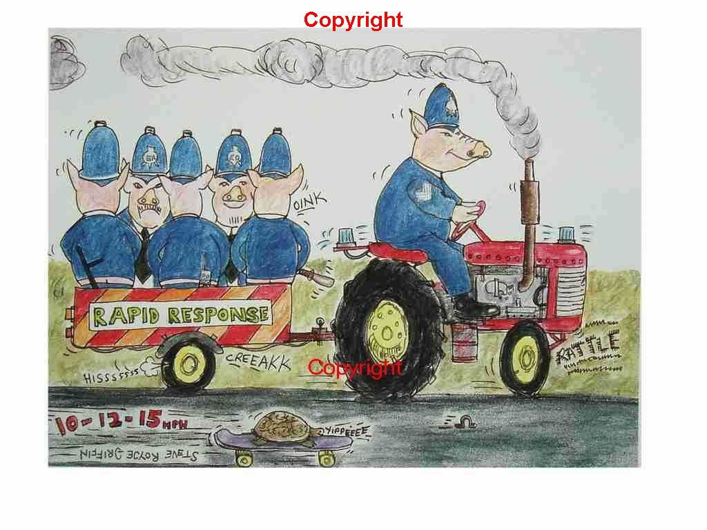 pigs police on tractor