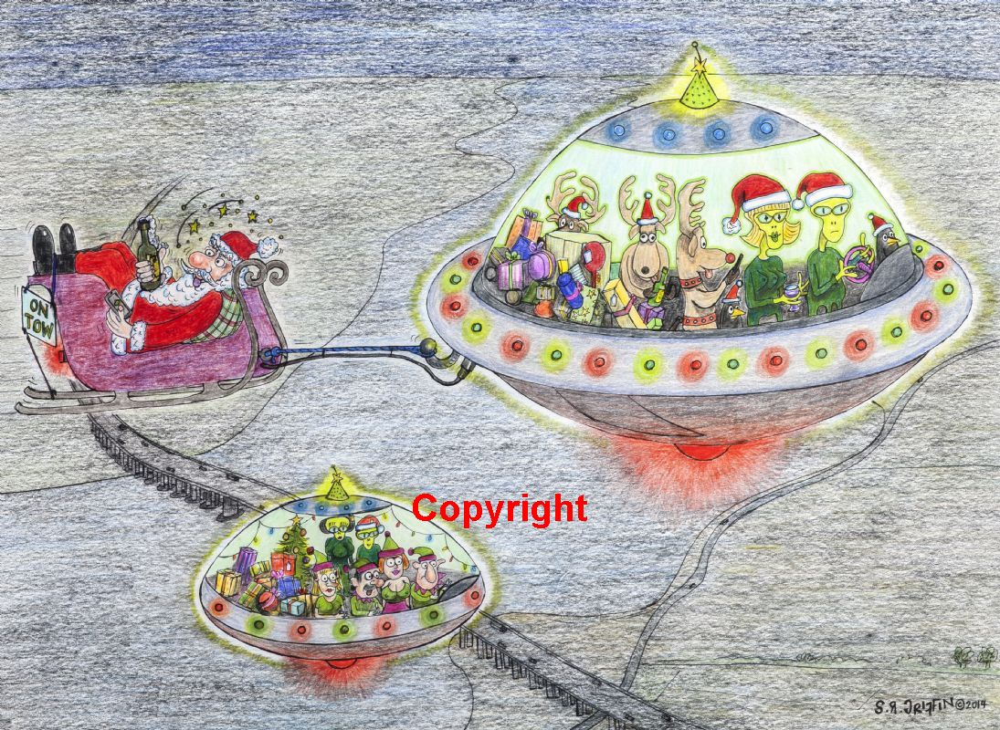 Alien Space Ship Christmas card.